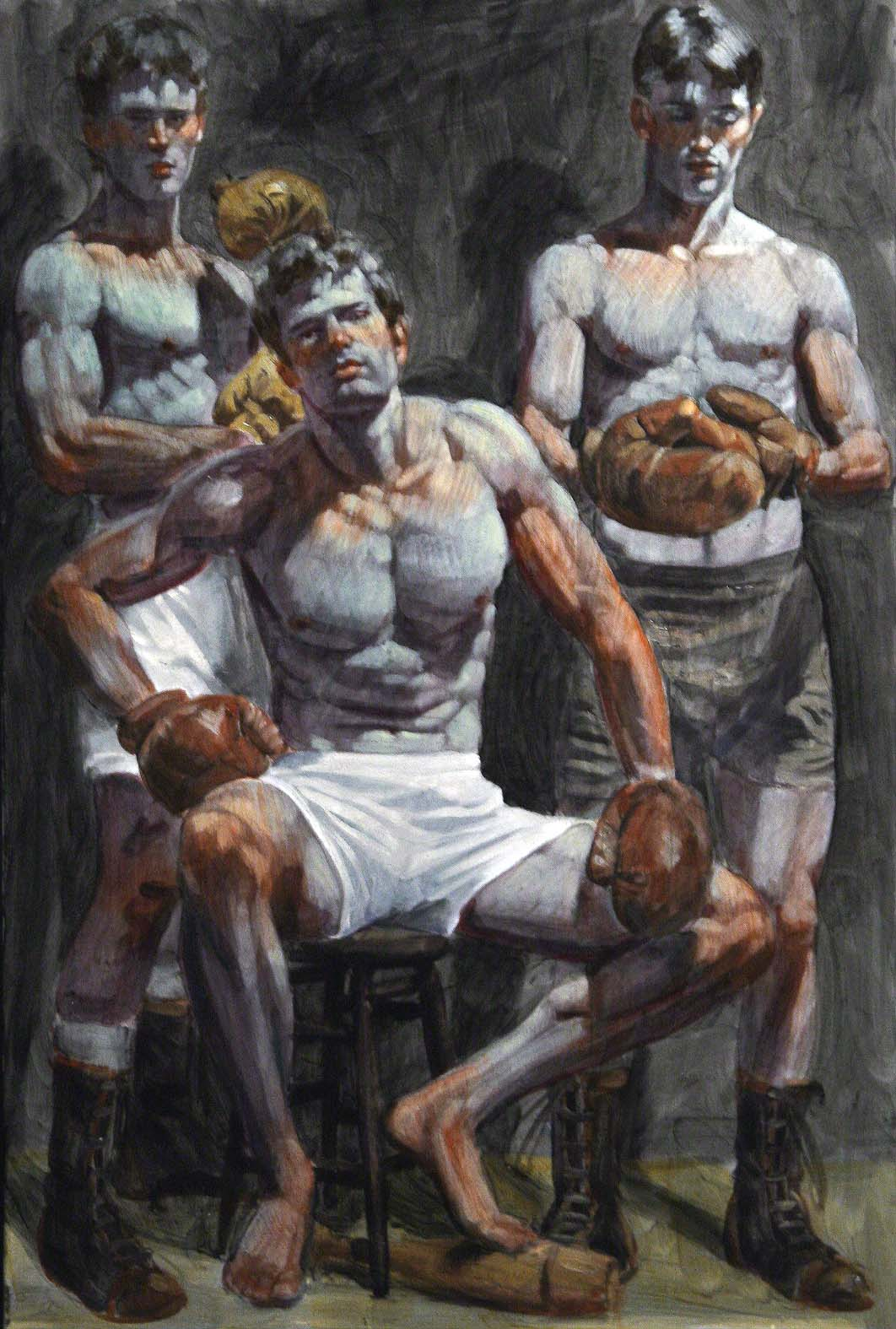Bruce Sargeant_Three Boxers_oil on canvas_copyright Bruce Sargeant_courtesy MILA Kunstgalerie